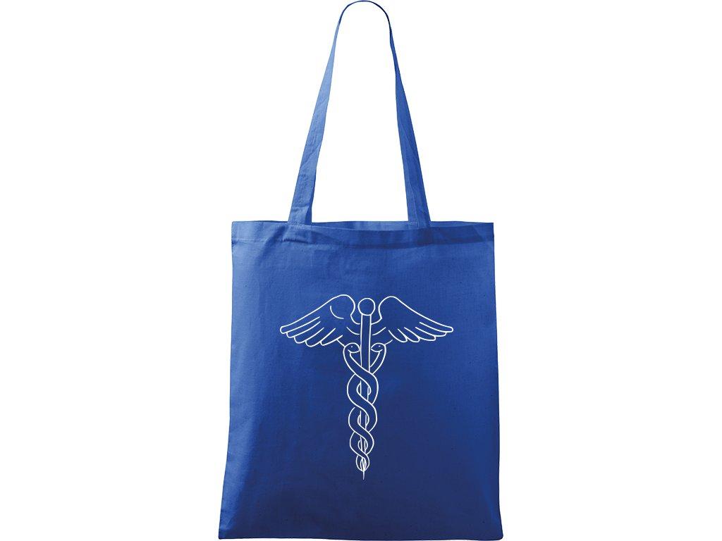 Plátěná taška Handy modrá s bílým motivem - Caduceus