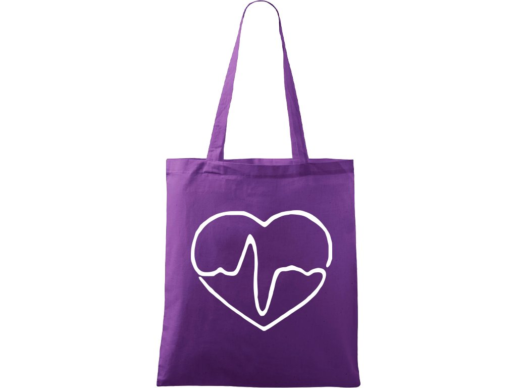 Plátěná taška Handy fialová s bílým motivem - Doktorské srdce