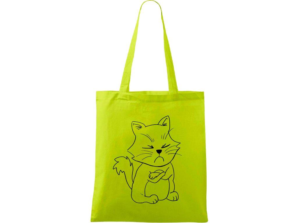 Plátěná taška Handy limetková s černým motivem - Grumpy Kitty