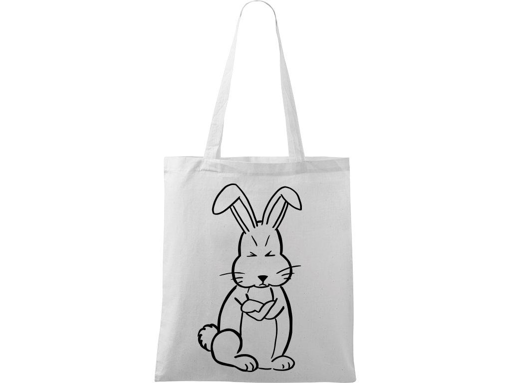 Plátěná taška Handy bílá s černým motivem - Grumpy Rabbit