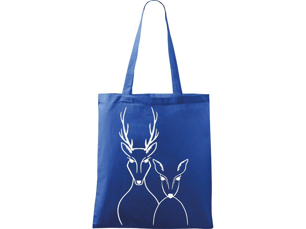 Plátěná taška Handy modrá s bílým motivem - Jelen a Srnka