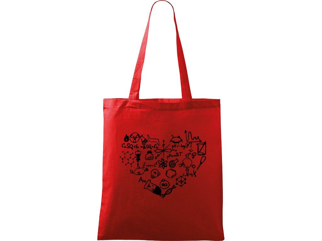 Plátěná taška Handy červená s černým motivem - Chemikovo Srdce
