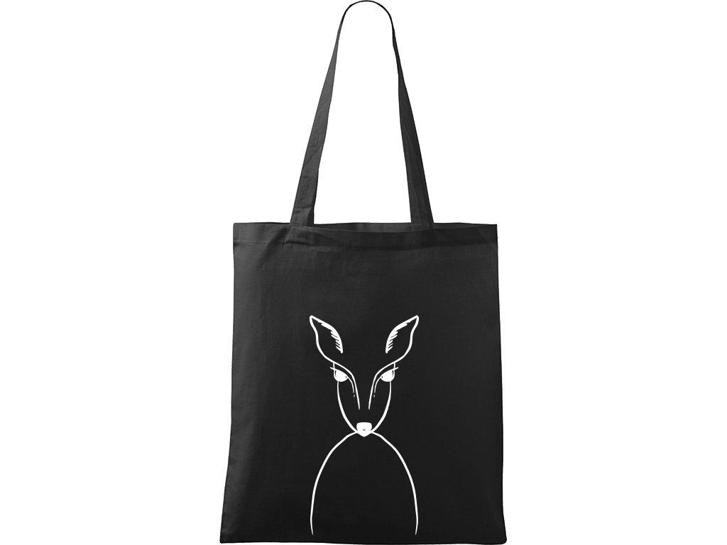 Plátěná taška Handy černá s bílým motivem - Srnka