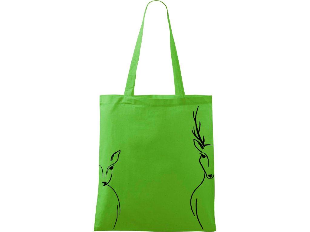 Plátěná taška Handy zelená s černým motivem - Jelen a Srnka na bocích
