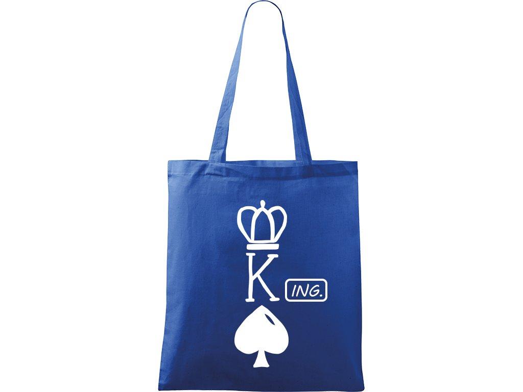 Plátěná taška Handy modrá s bílým motivem - (K) Ing.