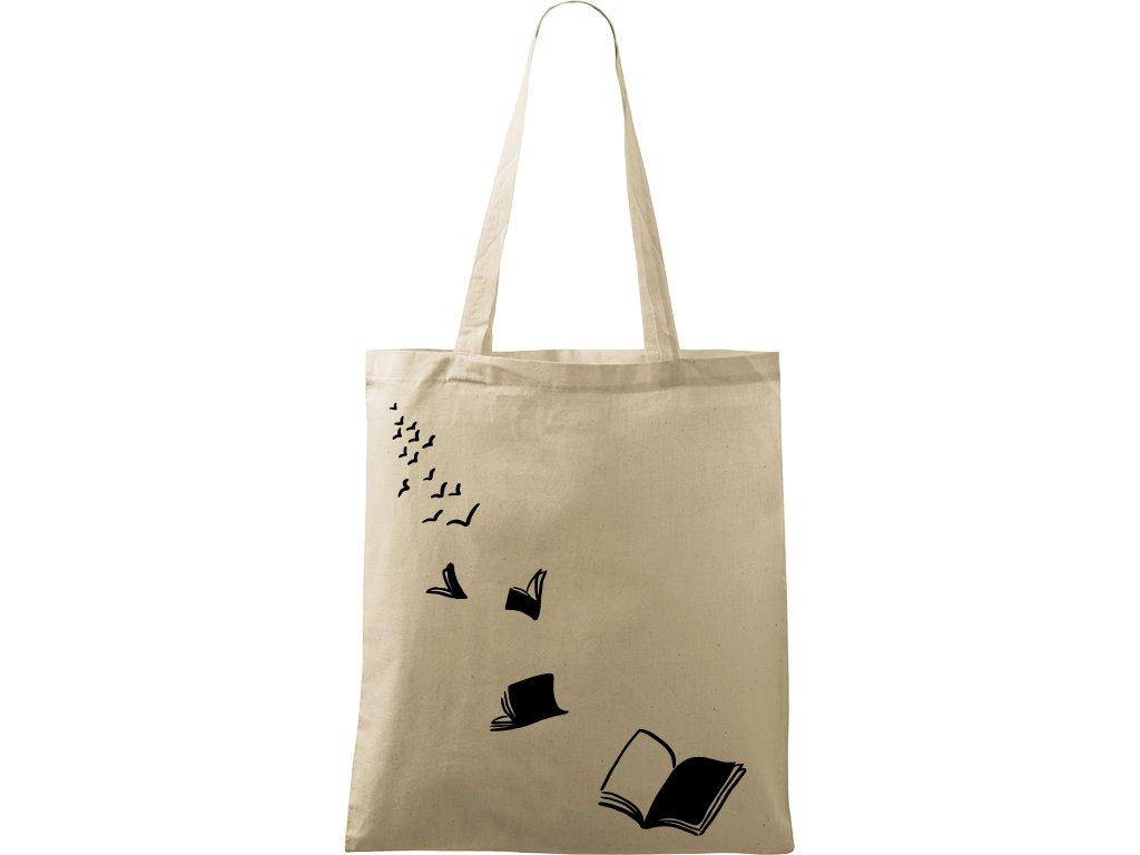 Plátěná taška Handy přírodní s černým motivem - Létající knihy 2