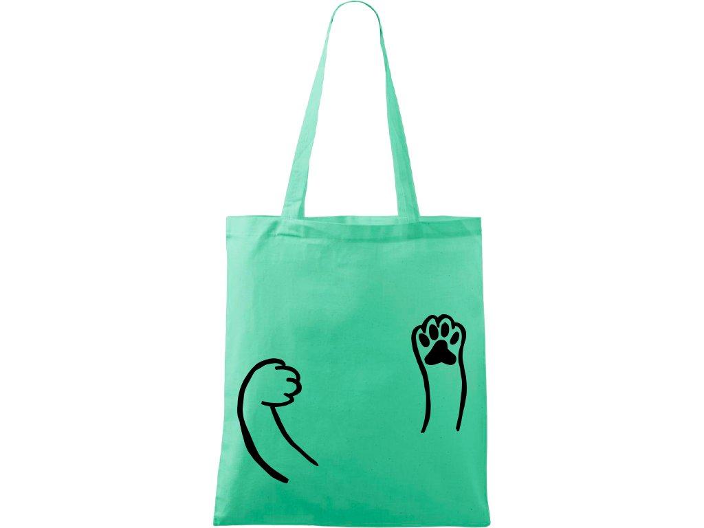 Plátěná taška Handy světle zelená s černým motivem - Kočičí packy