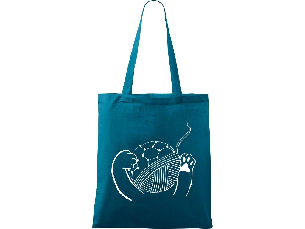 Plátěná taška Handy petrolejová s bílým motivem - Kočičí klubko Fulleren