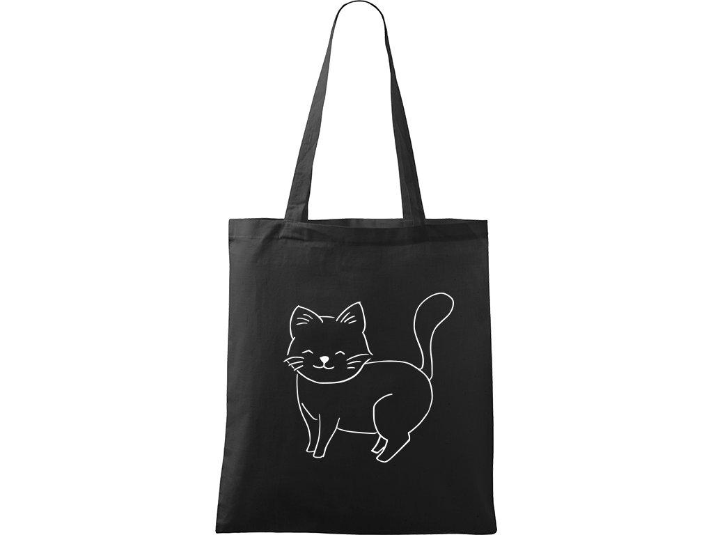 Plátěná taška Handy černá s bílým motivem - Kočka