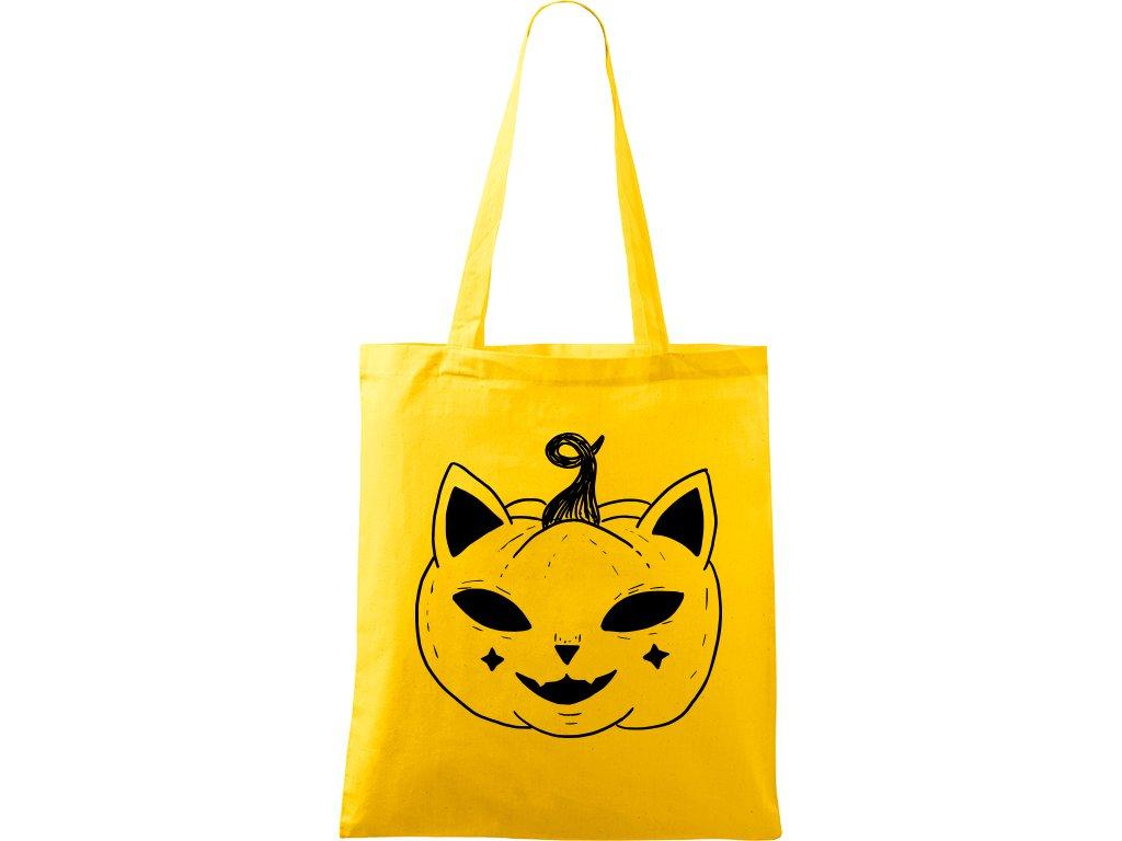 Plátěná taška Handy žlutá s černým motivem - Kočka Dýně Halloween