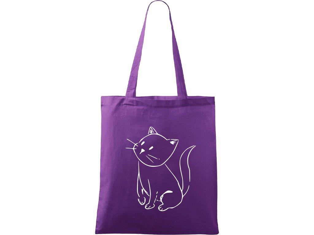 Plátěná taška Handy fialová s bílým motivem - Kotě