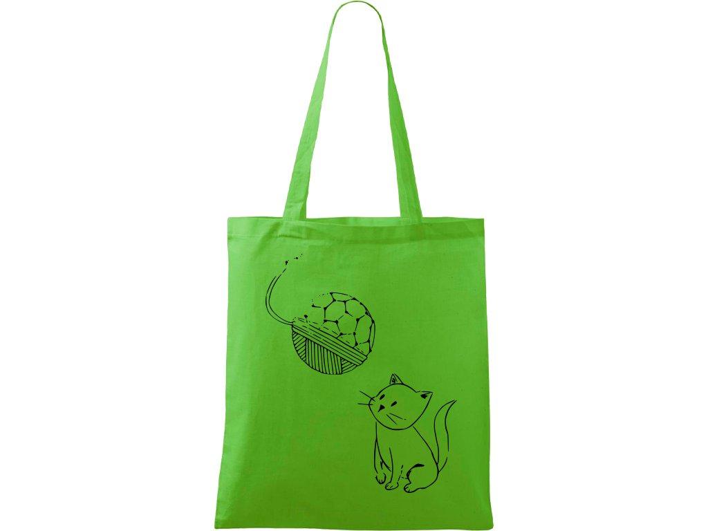 Plátěná taška Handy zelená s černým motivem - Kotě s Fullerenem