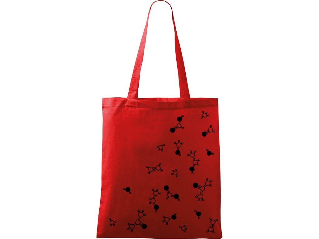 Plátěná taška Handy červená s černým motivem - Molekuly