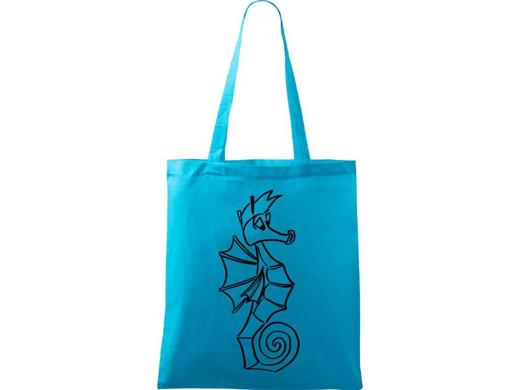 Plátěná taška Handy tyrkysová s černým motivem - Mořský koník