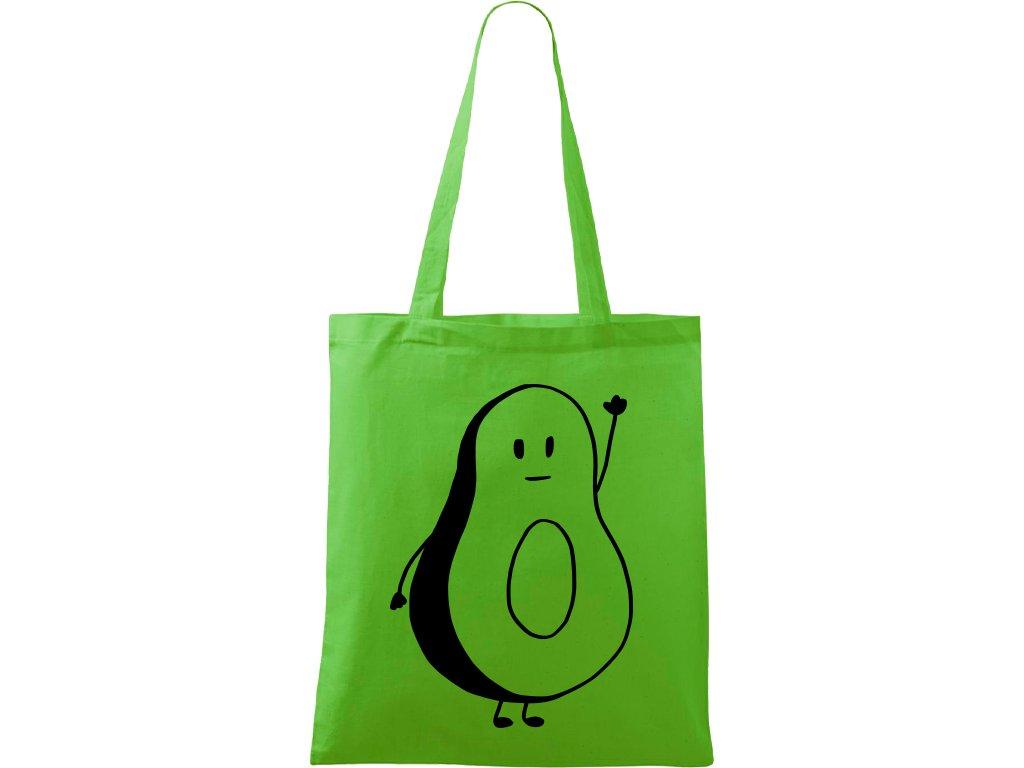 Plátěná taška Handy zelená s černým motivem - Pan Avokádo