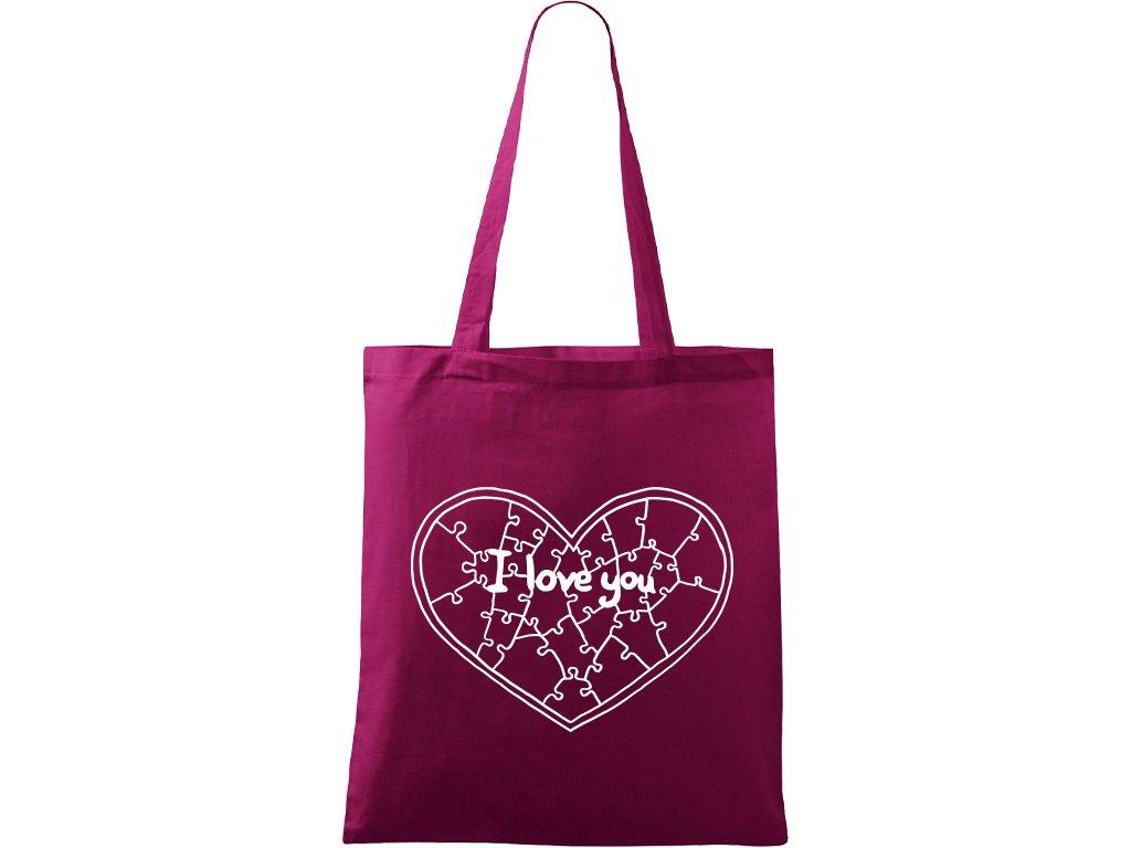 Plátěná taška Handy vínová s bílým motivem - Puzzle Srdce
