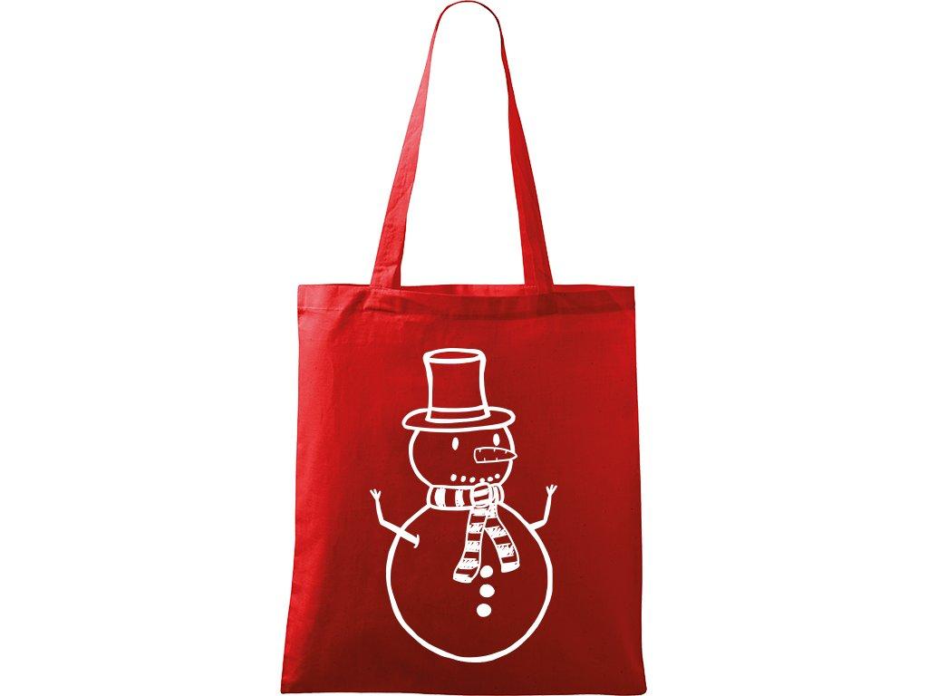 Plátěná taška Handy červená s bílým motivem - Sněhulák