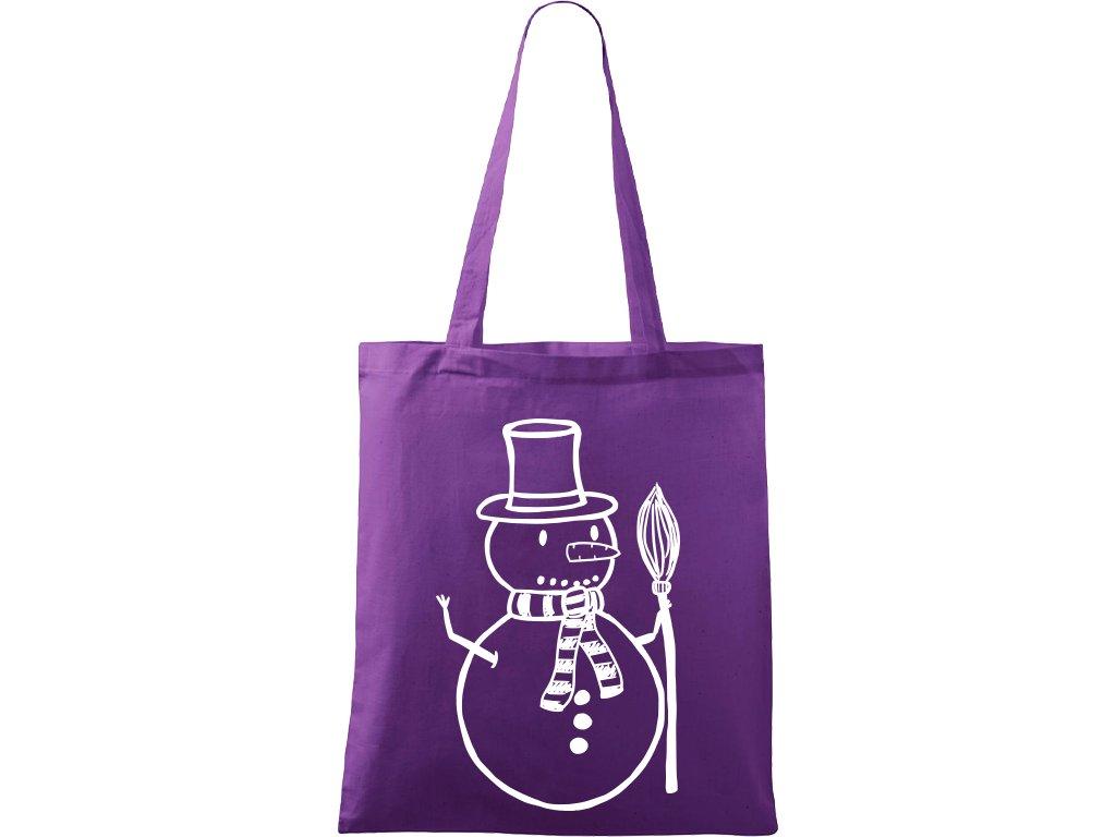 Plátěná taška Handy fialová s bílým motivem - Sněhulák s koštětem