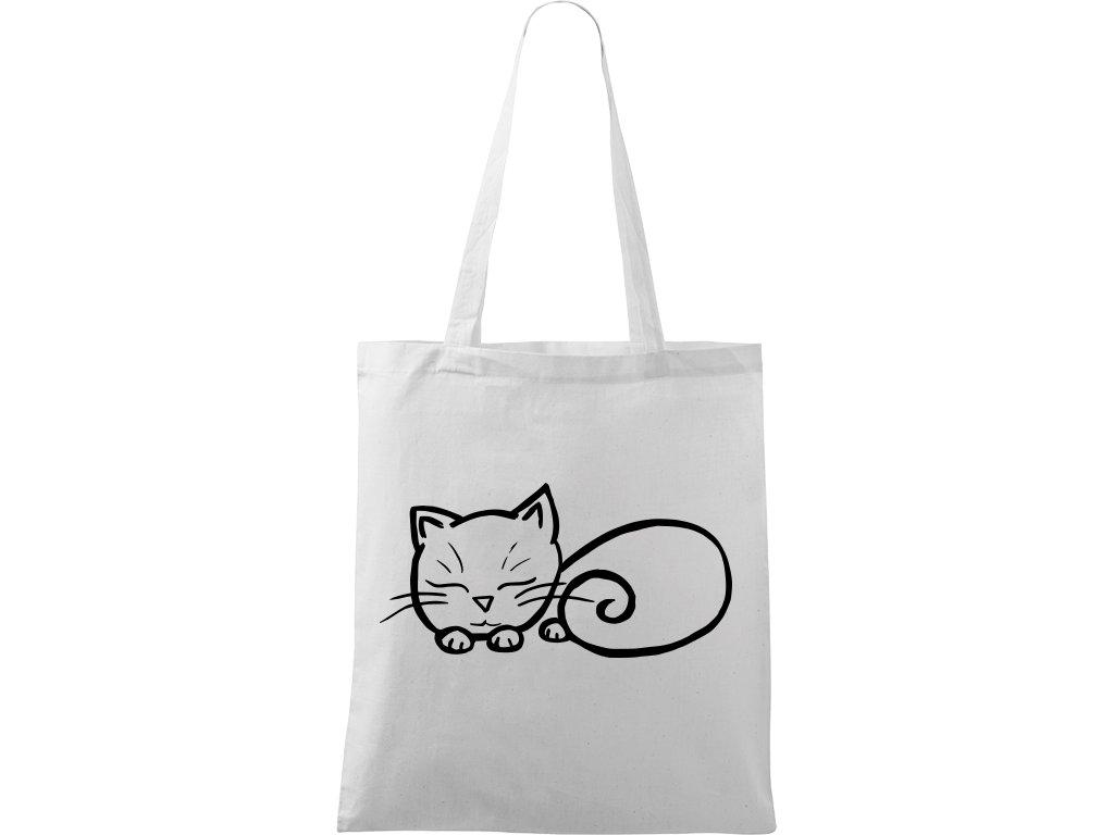 Plátěná taška Handy bílá s černým motivem - Spící Kotě
