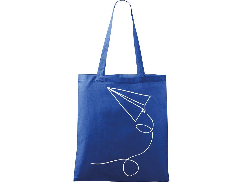 Plátěná taška Handy modrá s bílým motivem - Šipka