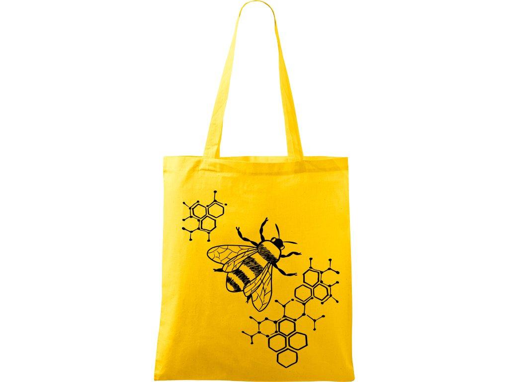 Plátěná taška Handy žlutá s černým motivem - Včela s plástvemi