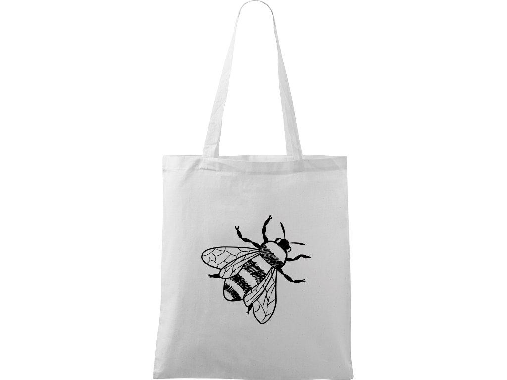 Plátěná taška Handy bílá s černým motivem - Včela