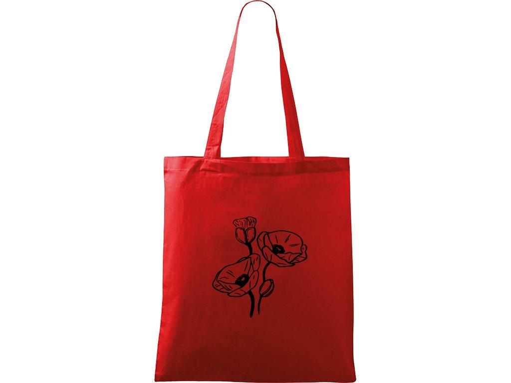 Plátěná taška Handy červená s černým motivem - Vlčí máky