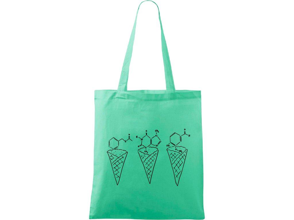 Plátěná taška Handy světle zelená s černým motivem - Zmrzliny