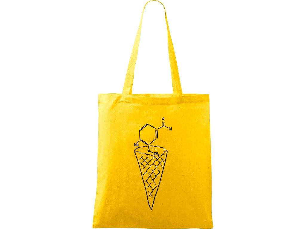 Plátěná taška Handy žlutá s černým motivem - Zmrzlina Vanilka