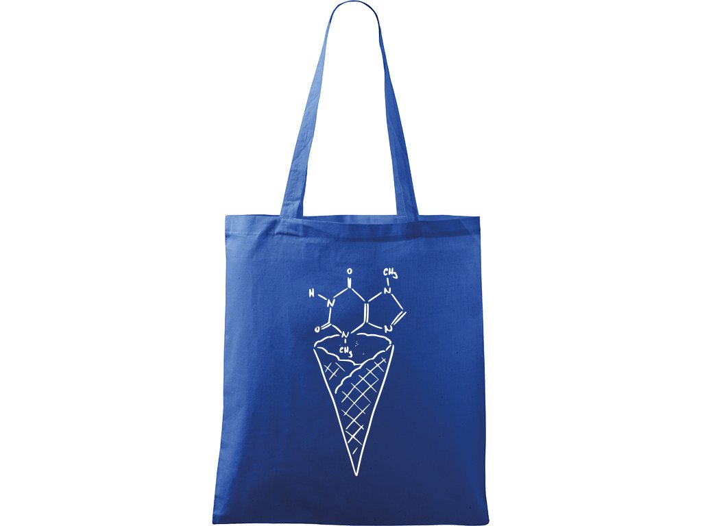 Plátěná taška Handy modrá s bílým motivem - Zmrzlina Čokoláda