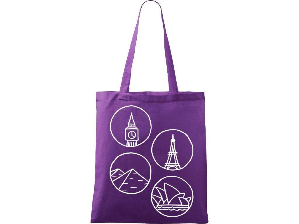Plátěná taška Handy fialová s bílým motivem - Sydney, Eifelovka a Big Ben 2