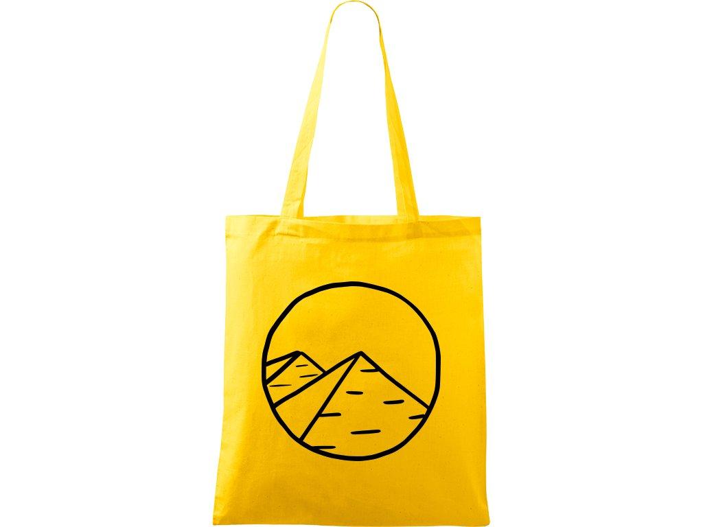 Plátěná taška Handy žlutá s černým motivem - Pyramidy