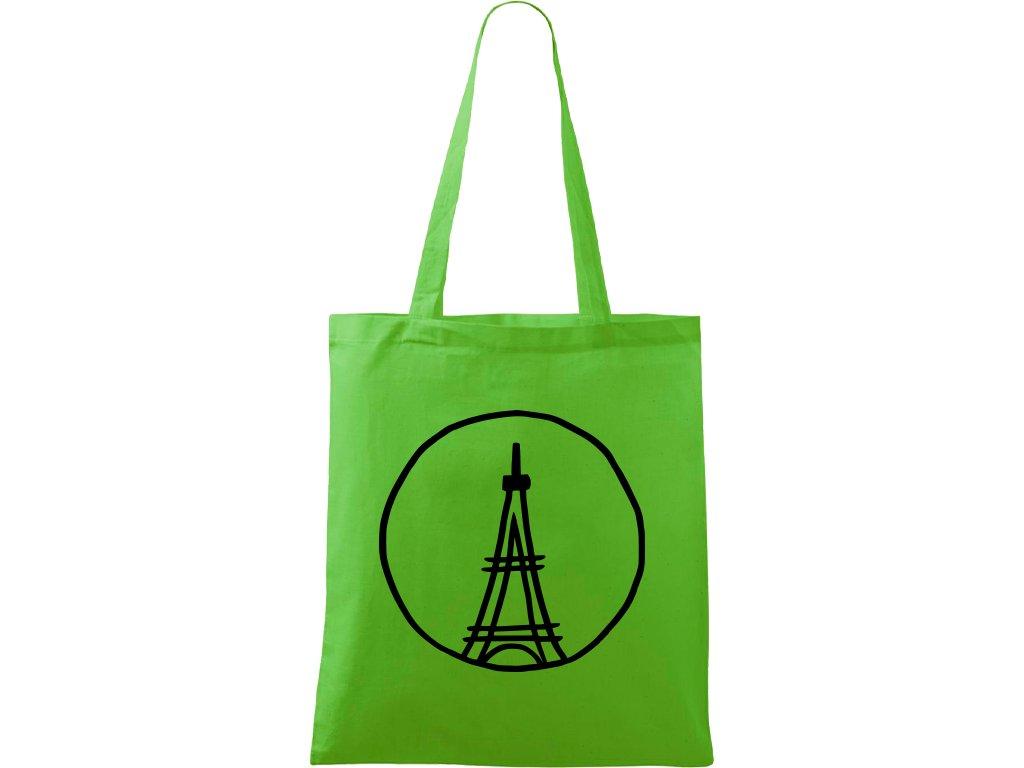 Plátěná taška Handy zelená s černým motivem - Eiffelova věž