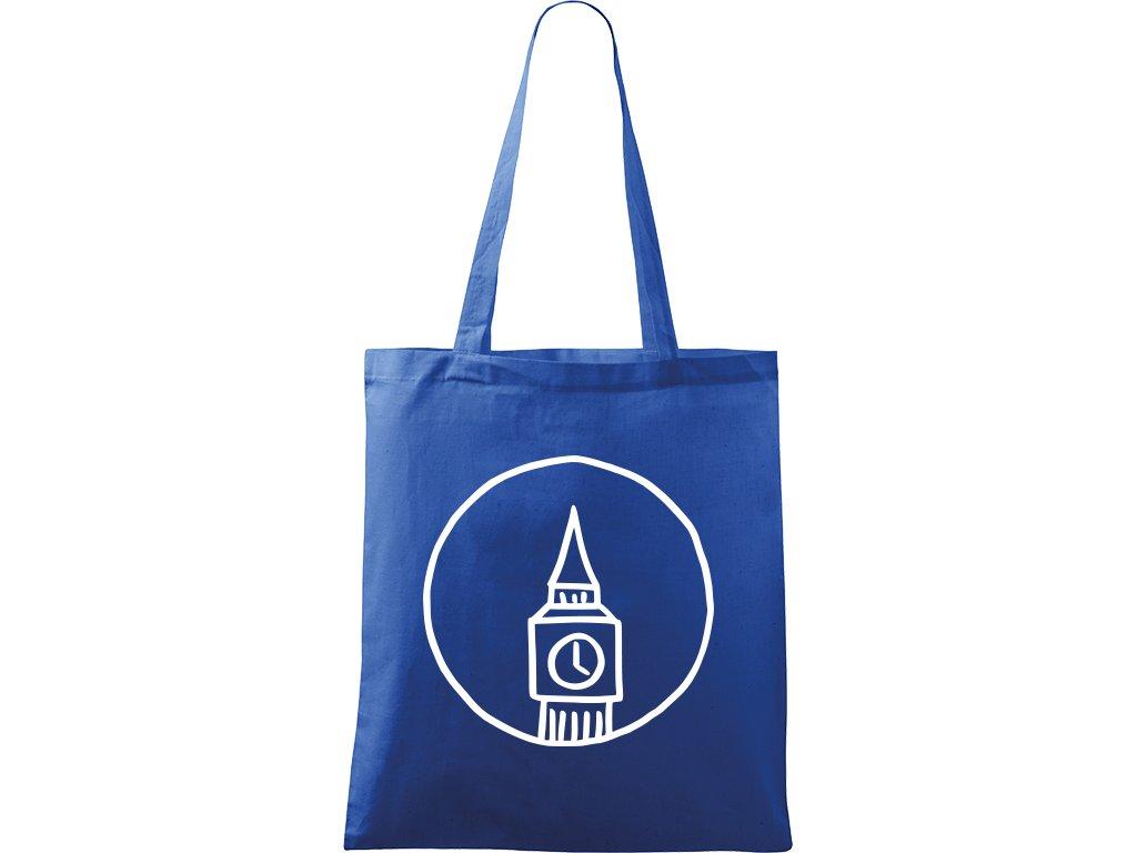 Plátěná taška Handy modrá s bílým motivem - Big Ben