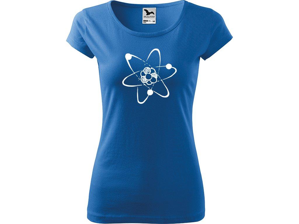 Ručně malované triko azurové s bílým motivem - Atom