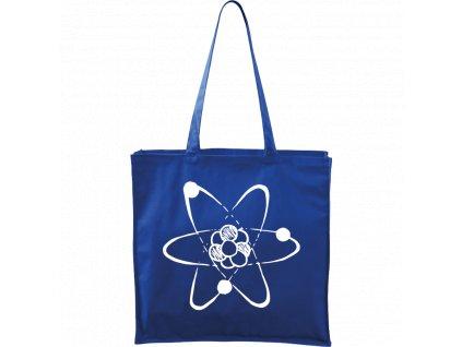 Plátěná taška Carry modrá s bílým motivem - Atom