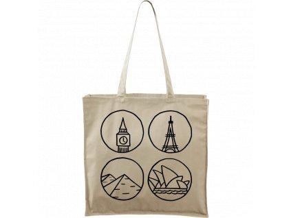 Plátěná taška Carry přírodní s černým motivem - Big Ben, Eiffelovka, Pyramidy a opera v Sydney - 1