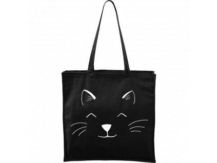 Plátěná taška Carry černá s bílým motivem - Cat Face
