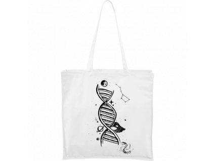 Plátěná taška Carry bílá s černým motivem - DNA