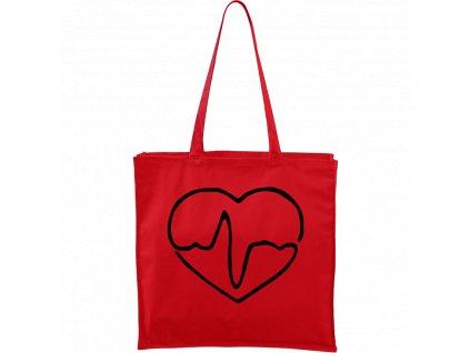 Plátěná taška Carry červená s černým motivem - Doktorské srdce