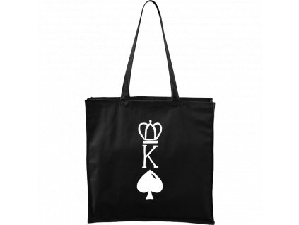 Plátěná taška Carry černá s bílým motivem - King