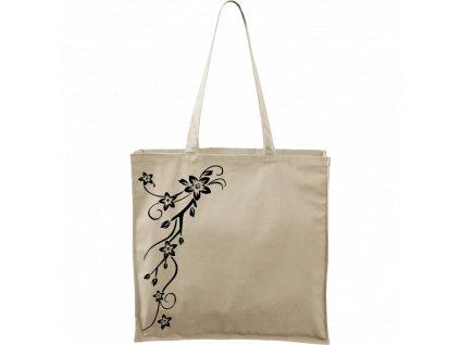 Plátěná taška Carry přírodní s černým motivem - Květy