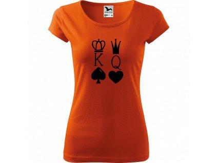 Ručně malované triko oranžové s černým motivem - King & Queen