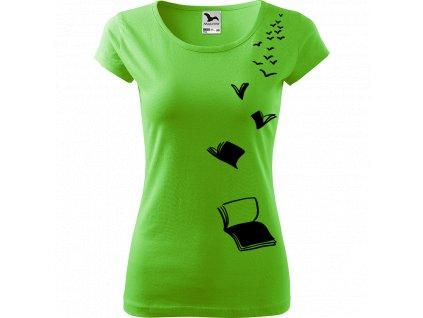 Ručně malované triko světle zelené s černým motivem - Létající knihy