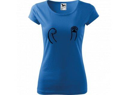 Ručně malované triko azurové s černým motivem - Kočičí packy