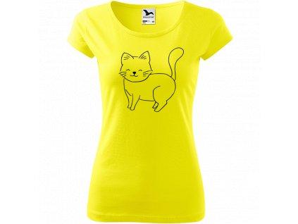 Ručně malované triko citronové s černým motivem - Kočka