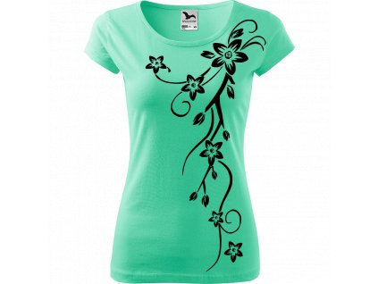 Ručně malované triko mátové s černým motivem - Květiny