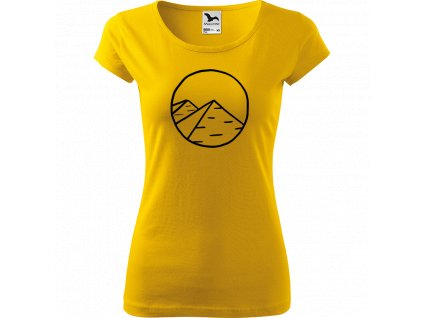 Ručně malované triko žluté s černým motivem - Pyramidy