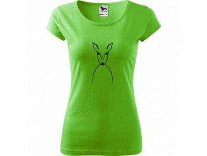 Ručně malované triko světle zelené s černým motivem - Srnka