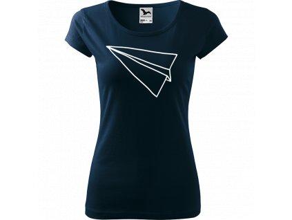 Ručně malované triko námořnické modré s bílým motivem - Šipka samotná